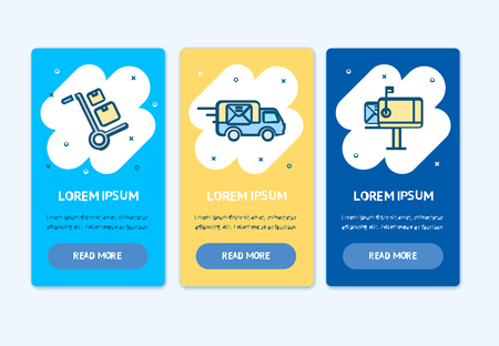 Oneboarding App Screens Cards Delivery Service Set. Vector