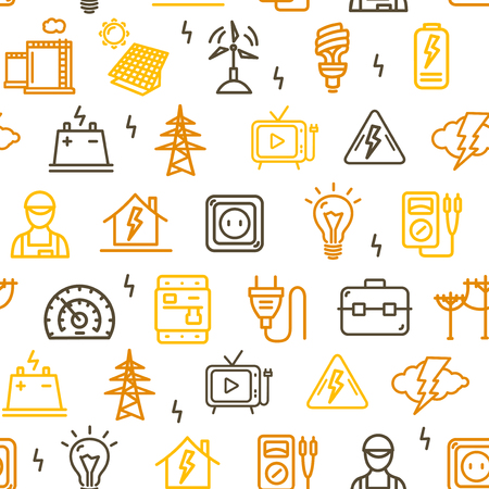 Electricity Signs Seamless Pattern Background. Vector Illustration