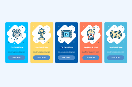 Oneboarding App Screens Cards Cinema Production Set. Vector Ilustração