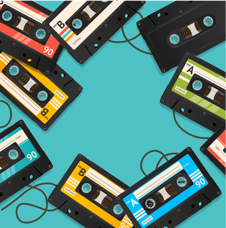 Audio Cassette Tape Background Card. Vector Иллюстрация