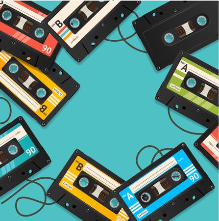 Audio Cassette Tape Background Card. Vector Ilustração