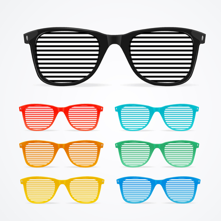 Sunglasses Striped Colorful Set Retro Concept Vintage Summer Accessory Symbol. Vector illustration of Old Color Glass
