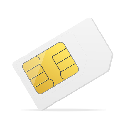 Realistic Detailed 3d White Mockup Sim Card. Vector