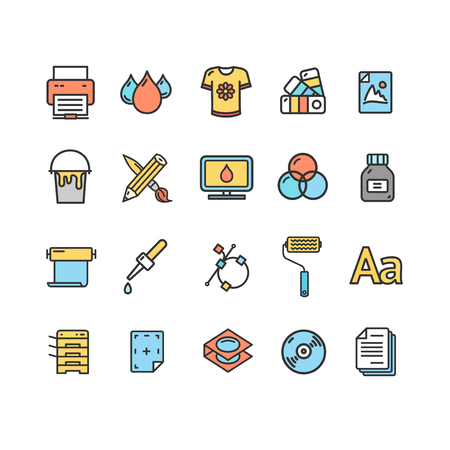 Printing Signs Color Thin Line Icon Set. Vector