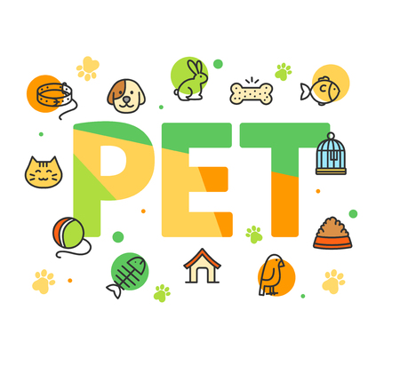 Pet Shop Signs Concept Card Poster Paper Art Design with Outline Icons Include of Dog and Cat. Vector illustration Standard-Bild - 115044959