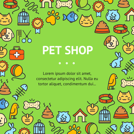 Pet Shop Signs Round Design Template Thin Line Icon Concept Frame or Border on Green. Vector illustration of Service Ad Standard-Bild - 115044960