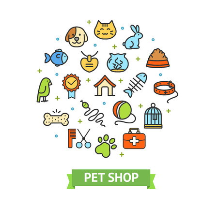 Pet Shop Signs Round Design Template Thin Line Icon Animal Care Concept for Marketing. Vector illustration of Color Outline Icons Standard-Bild - 115044965