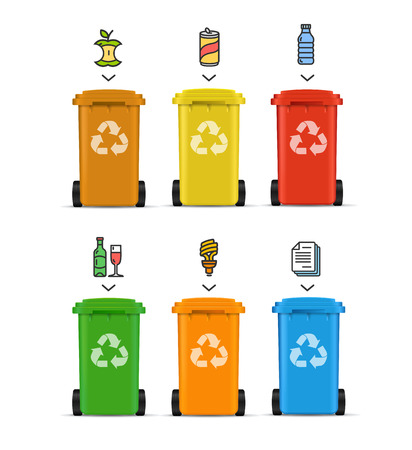 Realistic 3d Detailed Color Trash Bags Set witch Color Outline Icons Different Types. Vector illustration of Separation Garbage Concept