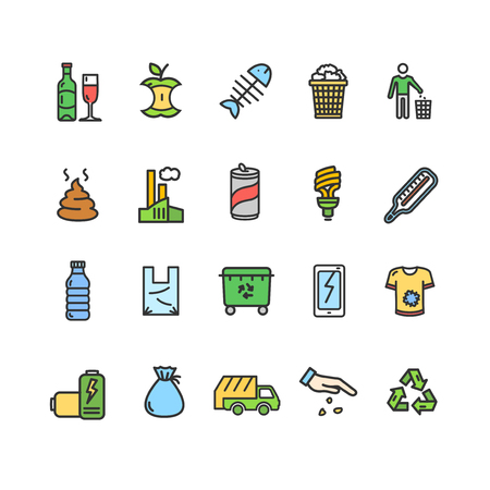 Trash Signs Color Thin Line Icon Set Include of Bottle, Truck, Container and Trashcan. Vector illustration of Icons Standard-Bild - 115044967