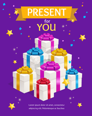 Gift Shop Ad with Pile of Present Box for Commercial Announcement or Invitation Retail Shopping. Vector illustration Standard-Bild - 114956831