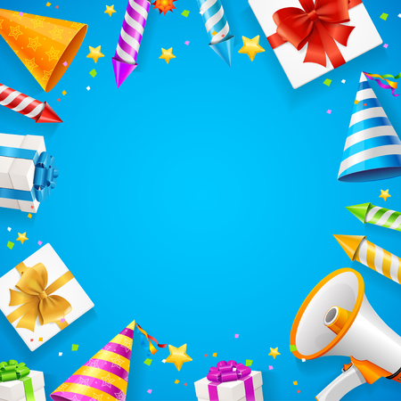 Birthday or Anniversary Celebration Banner Card Background on a Blue with Petard for Firework on Entertainment. Vector illustration Standard-Bild - 114956834