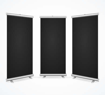 Realistic Detailed 3d Template Blank Black Scroll Banner Stand Mock Up Set for Business Design. Vector illustration Standard-Bild - 114956835