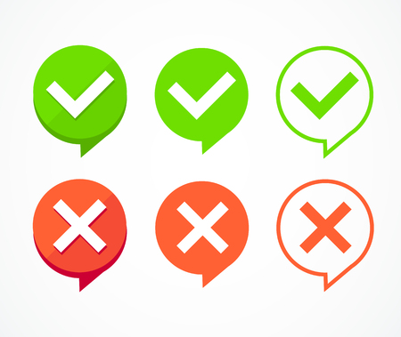 Color Checkboxes Signs Set Tick and Cross Elements for Form Web Design. Vector illustration of Check Box Standard-Bild - 114836020