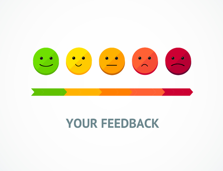 Feedback Line from Positive to Negative Emoticon for Review, Survey Quality Evaluation. Vector illustration of Good and Bad Face