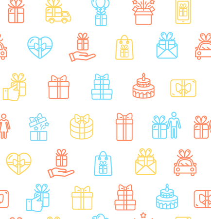 Present Gift Signs Seamless Pattern Background on a White for Web and App Element Celebration Concept. Vector illustration Standard-Bild - 114836022