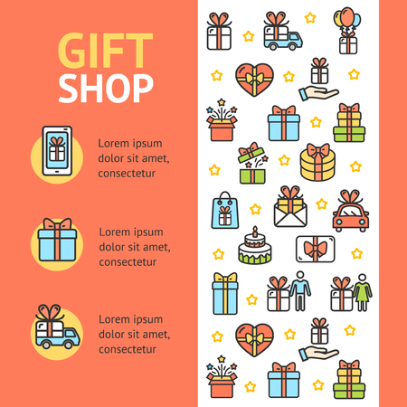Gift Shop Banner Vecrtical with Color Outline Icons Surprise and Celebration Concept for Retail Store Market Business. Vector illustration Standard-Bild - 114836023
