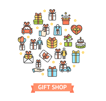 Present Gift Shop Signs Round Design Template Thin Line Icon Concept for Marketing. Vector illustration of Elements Holiday Standard-Bild - 114836024