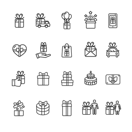 Present Gift Signs Black Thin Line Icon Set Include of Car and Cake. Vector illustration of Icons Standard-Bild - 114836025