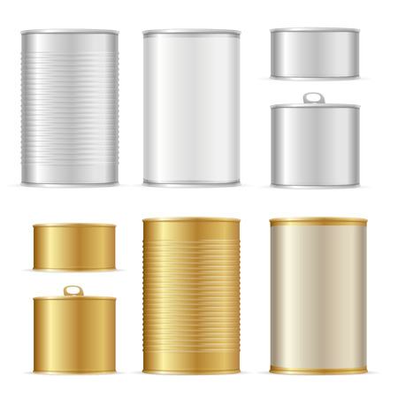 Realistic Detailed 3d Gold and Metal Tin Can Set Packaging Empty. Vector illustration of Canned Container for Food Standard-Bild - 114836029