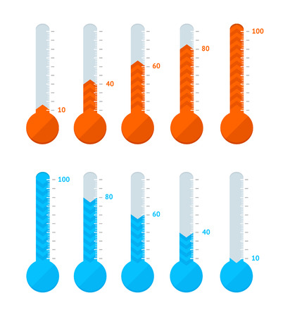 Thermometer Signs Different Types Set Hot or Cold Temperature Signs Blue and Red. Vector illustration of Thermometers Illustration