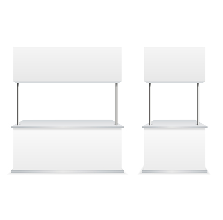 Realistic Detailed 3d Blank Empty Template Promotion Stands Set for Marketing and Advertising. Vector illustration of White Stand