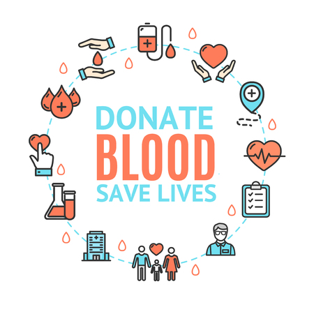 Blood Donation Concept Round Design Template with Thin Line Icon and Text. Vector illustration of Save Lives Çizim