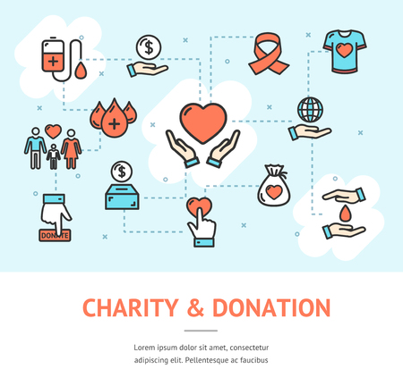 Charity Donation Banner Horizontal with Color Outline Icons Include of Box Money, Ribbon and Coin. Vector illustration Standard-Bild - 114725935