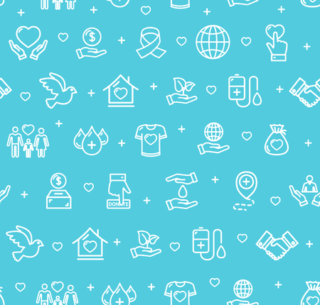 Donation Signs Seamless Pattern Background on a Blue for Sharing and Protection Community People, Fundraiser Service. Vector illustration Çizim