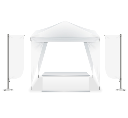Realistic Detailed 3d Blank Empty Template Outdoor Event Tent Set for Marketing and Advertising. Vector illustration of White Pavilion