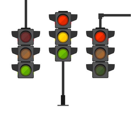 Cartoon Traffic Light Different Types Set Regulate Direction Concept Element Flat Design Style. Vector illustration of Stoplight Standard-Bild - 114725938