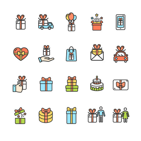 Present Gift Signs Color Thin Line Icon Set Include of Box and Package. Vector illustration of Icons Standard-Bild - 114725940