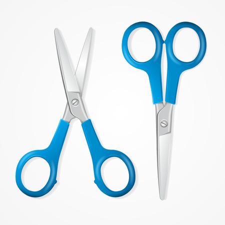 Realistic Detailed 3d Blue Scissors Set Equipment for Work Isolated on White Background. Vector illustration of Steel Scissor Çizim