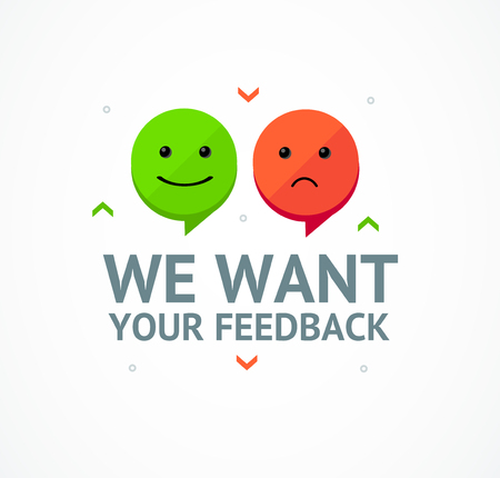 We Want Feedback Card Background with Emoji or Smile Concept Customer Evaluation Satisfaction. Vector illustration of Opinion Service
