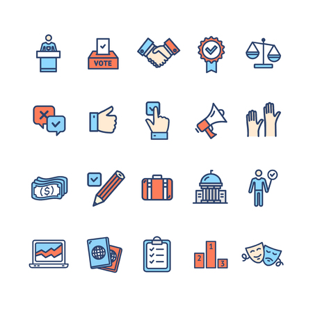 Election Signs Color Thin Line Icon Set. Vector