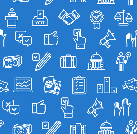 Election Signs Seamless Pattern Background. Vector Stock Photo