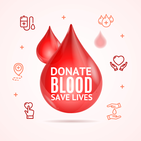 Blood Donation Concept with Realistic Detailed 3d Red Droplet and Thin Line Icons. Vector illustration of Save Lives Illustration