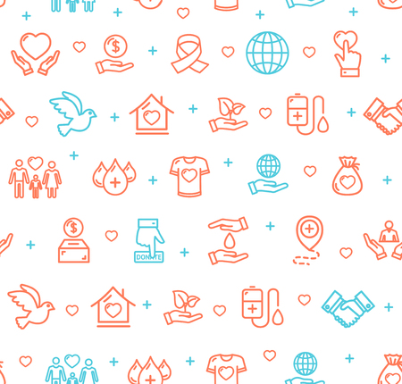 Donation Signs Seamless Pattern Background. Vector