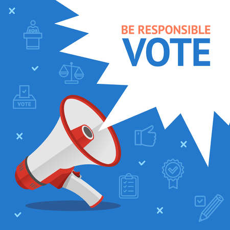 Vote Concept Card with Loudspeaker and Thin Line Icons on a Blue Megaphone Symbol of Advertising. Vector illustration Ilustrace