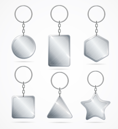 Realistic Detailed 3d Empty Template Metallic Steel Keychain Set Symbol of Access. Vector illustration of Key Chain or Keyring