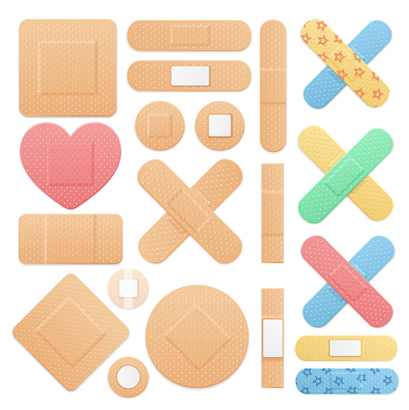 Realistic Detailed 3d Color Aid Band Plaster Medical Patch Set on a White. Vector illustration of Sticky Note Standard-Bild - 111884980