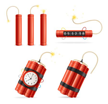 Realista detallada 3d rojo detonación de dinamita bomba Stick y temporizador conjunto de reloj aislado sobre fondo blanco. Ilustración vectorial