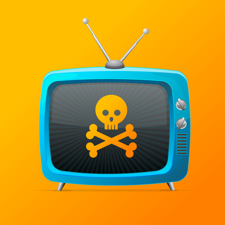 Blue Tv with Skull and Bones Screen Display on a Orange Background. Vector illustration of Television Broadcasting Concept Vecteurs