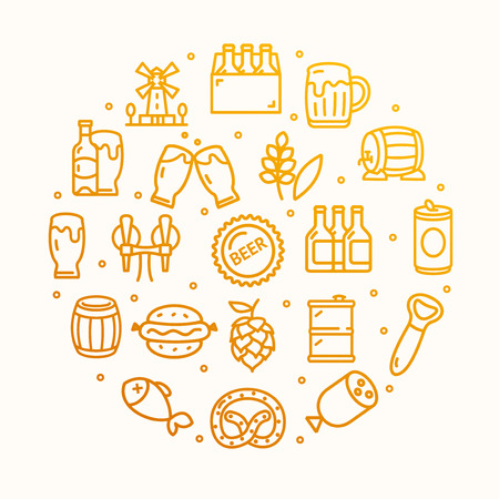 Beer and Oktoberfest Signs Round Design Template Thin Line Icon Concept. Vector Illustration