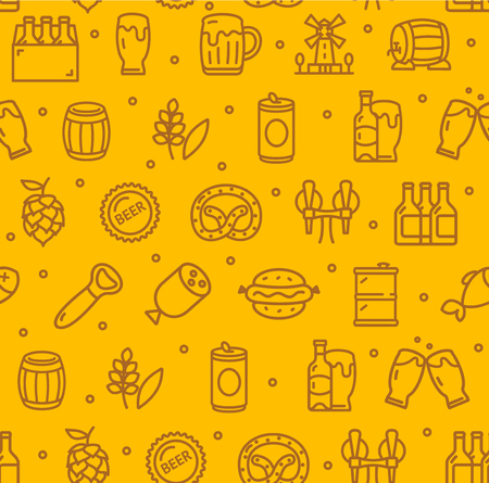 Beer and Oktoberfest Signs Seamless Pattern Background on a Yellow Include of Pretzel, Bottle and Frankfurter. Vector illustration
