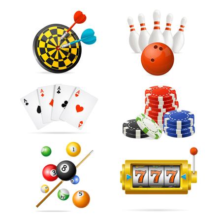 Jeu d'icônes de jeux de sport et de loisirs de casino 3d détaillés réalistes. Vecteur