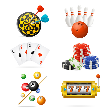 Realistic Detailed 3d Casino Sport and Leisure Games Icon Set. Vector