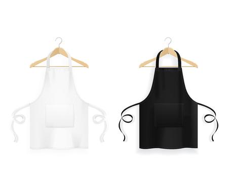 Realistyczne szczegółowe 3d biały pusty czarno-biały fartuch kuchenny z drewnianymi wieszakami na ubrania szablon makieta zestaw. Ilustracja wektorowa