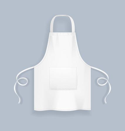 Realistyczne szczegółowe 3d biały fartuch kuchenny puste szablon pusta makieta na szaro. Ilustracja wektorowa munduru odzieżowego