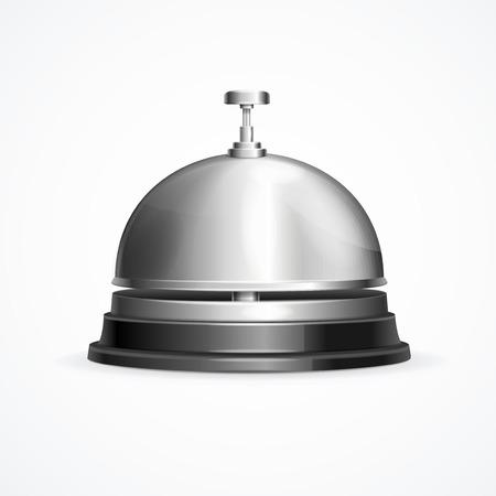 Cloche de réception métallique brillante détaillée 3d réaliste appel à l'aide et à l'assistance. Illustration vectorielle de l'élément de service hôtelier