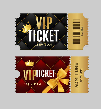 Realistic Detailed 3d Vip Tickets Set. Vector Vectores